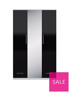Cologne Gloss 3-Door, 2-Drawer Mirrored Wardrobe