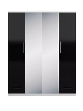 Cologne Gloss 4-Door Mirrored Wardrobe