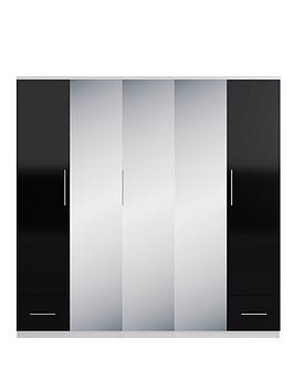 Cologne Gloss 5-Door, 2-Drawer Mirrored Wardrobe