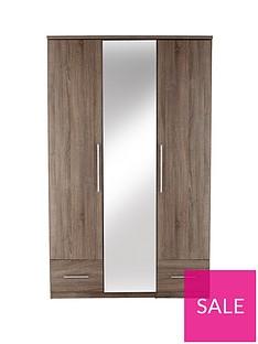 Cologne 3-Door, 2-Drawer Mirrored Wardrobe