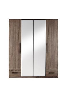 Cologne 4-Door, 2-Drawer Mirrored Wardrobe