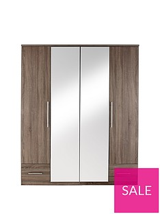 Cologne 4-Door, 2-Drawer Mirrored Wardrobe