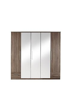 Cologne 5-Door, 2-Drawer Mirrored Wardrobe