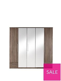 Cologne 5-Door, 2-Drawer Mirrored Wardrobe