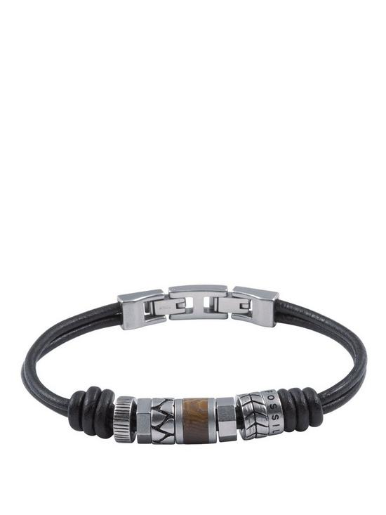 64908aa9d Fossil Mens Leather Bracelet Stainless Steel Roundels and Adjustable Closure