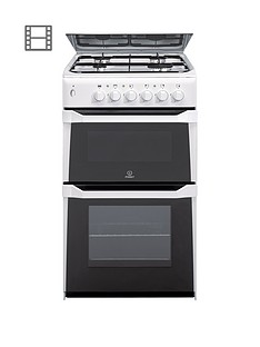 Indesit ITL50GW 50cm Twin Cavity Gas Cooker with FSD - White