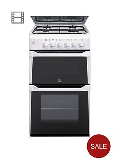 indesit itl50gw 50cm twin cavity gas cooker with fsd white