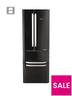 Hotpoint Day 1 FFU4DK American Style, 70cm Wide, Frost-Free Fridge Freezer - BlackA+ Energy Rating