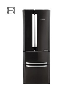 Hotpoint FFU4DK American Style 70cm Frost Free Fridge Freezer - BlackA+ Energy Rating