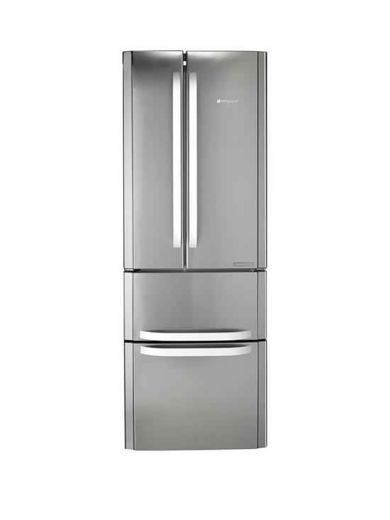 ae35310d6165 Hotpoint Day 1 FFU4DX American Style 70cm Frost Free Fridge Freezer, A+  Energy Rating - Stainless Steel