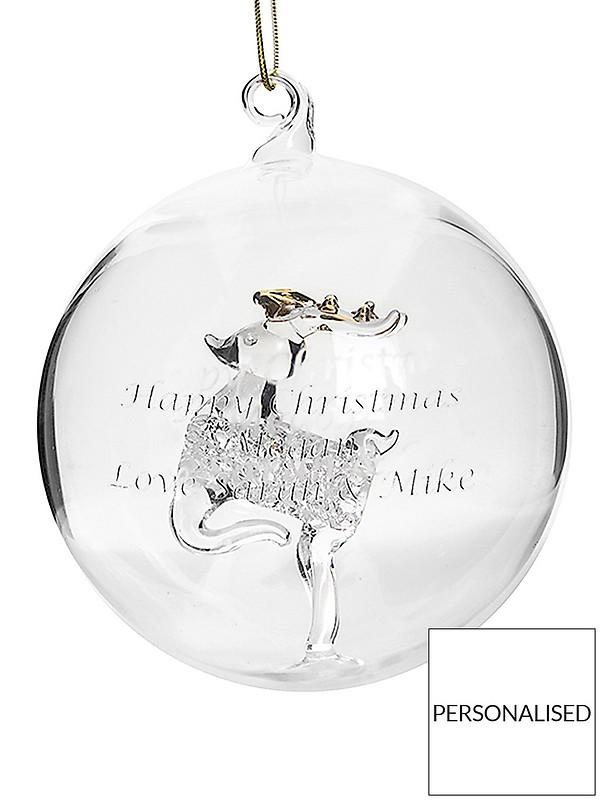Umbrella Christmas Tree Uk.Personalised Reindeer Glass Christmas Tree Bauble