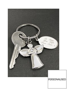 personalised-silver-angel-keyring