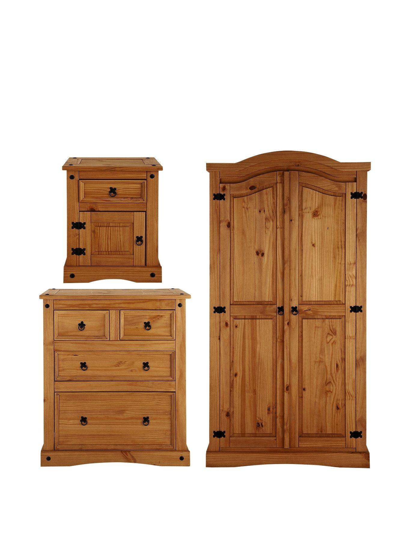 corona 3piece bedroom furniture set wardrobe 2 2 drawer chest and bedside cabinet