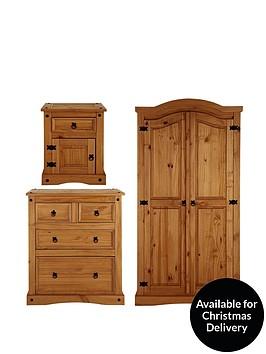 Corona 3 piece bedroom furniture set wardrobe 2 2 for Very cheap bedroom furniture