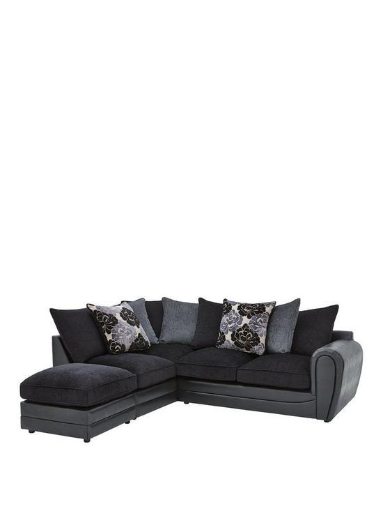 Monico Left Hand Single Arm Scatter Back Corner Chaise Sofa + Footstool    Very.co.uk