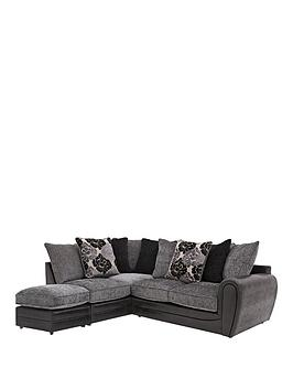 Photo of Monico floral left hand single arm corner chaise sofa with footstool