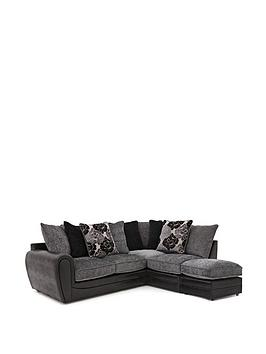 Photo of Monico floral right hand single arm corner chaise sofa with footstool
