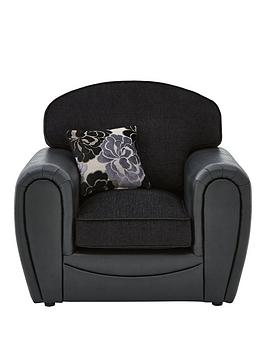 Photo of Monico floral fabric and faux snakeskin armchair