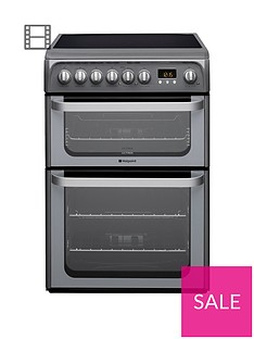 Hotpoint Ultima HUE61GS 60cm Double Oven Electric Cooker with Ceramic Hob - Graphite Best Price, Cheapest Prices