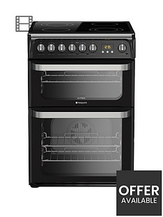 hotpoint-ultima-hue61knbsp60cm-double-oven-electric-cooker-with-ceramic-hob-black