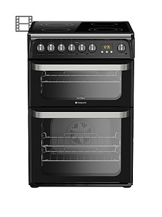 Hotpoint Ultima HUE61K 60cm Double Oven Electric Cooker with Ceramic Hob - Black