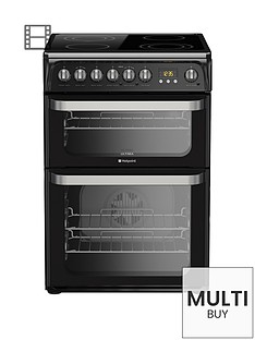 hotpoint-ultima-hue61ks-60cm-double-oven-electric-cooker-with-ceramic-hob-black