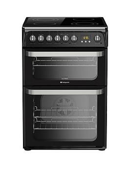 Hotpoint Ultima Hue61K 60Cm Double Oven Electric Cooker With Ceramic Hob - Black Best Price, Cheapest Prices