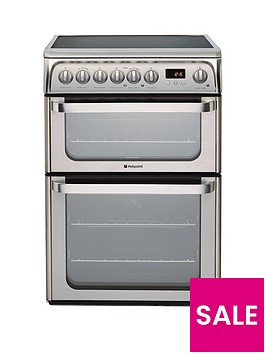 hotpoint-ultima-hue61xs-60cm-double-oven-electric-cooker-with-ceramic-hob-stainless-steel