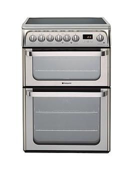 Hotpoint Ultima Hue61Xs 60Cm Double Oven Electric Cooker With Ceramic Hob - Stainless Steel Review thumbnail