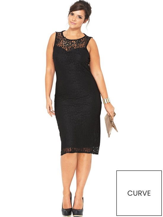f05ae8fa1d4f V by Very Curve Lace Midi Dress (Available in sizes 16-28) | very.co.uk