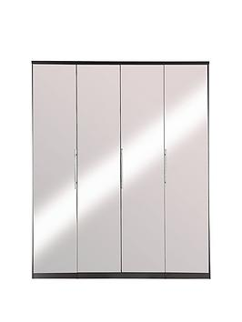 Prague 4-Door Wardrobe With Mirrored Doors And Internal Chest Of 3 Drawers