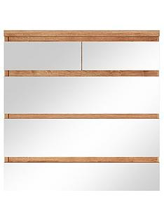 Prague 4 + 2 Chest of Drawers with Mirrored Drawer Fronts