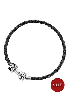 the-love-silver-collection-sterling-silver-black-leather-bracelet-with-stopper-bead
