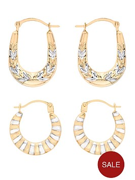love-gold-9-carat-2-colour-gold-patterned-kiss-and-ribbed-creole-earrings-set-of-2