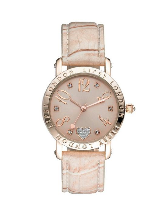 2d62adc8 Lipsy Pink Tone Dial And Nude Strap Ladies Watch | very.co.uk