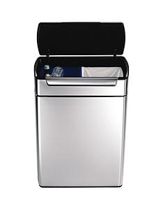 simplehuman-48-litre-touch-bar-recycler-bin-brushed-steel