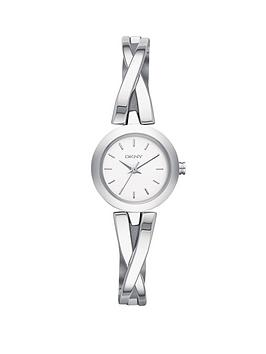 dkny-crosswalk-stainless-steel-half-bangle-ladies-watch
