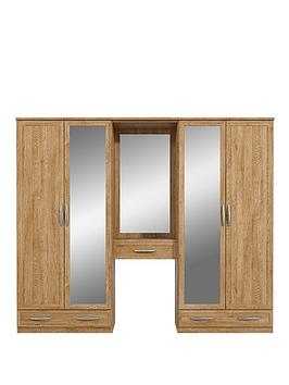 oslo-4-door-3-drawer-dressing-unit-combi-mirrored-wardrobe