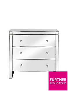Curved Mirror Wide Chest of 3 Drawers