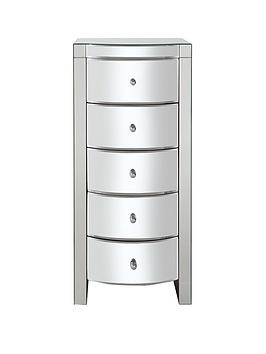 Curved Mirror Narrow Chest Of 5 Drawers thumbnail