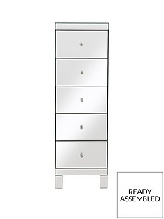 Parisian Ready Assembled Mirrored Tall 5 Drawer Chest