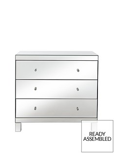 Parisian Ready Assembled Mirrored Wide 3 Drawer Chest