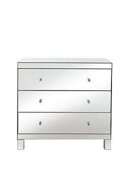 Parisian Ready Assembled Mirrored Wide 3 Drawer Chest thumbnail