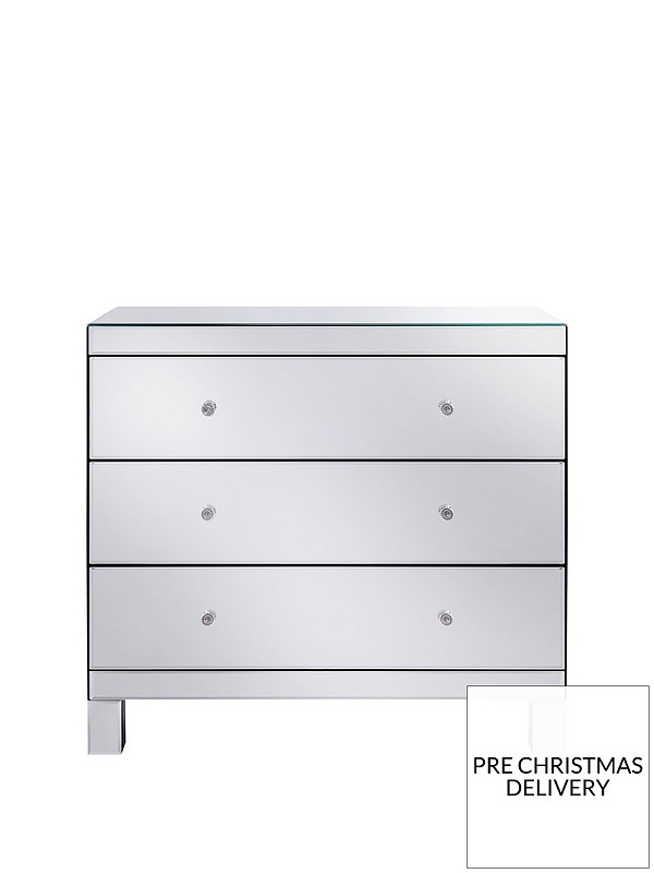 half off e38a6 cce51 Parisian Ready Assembled Mirrored Wide 3 Drawer Chest