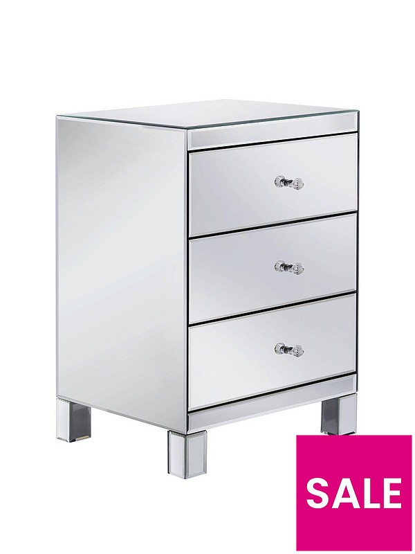 Parisian Mirrored 3 Drawer Ready, 3 Drawer Mirrored Bedside Table Very