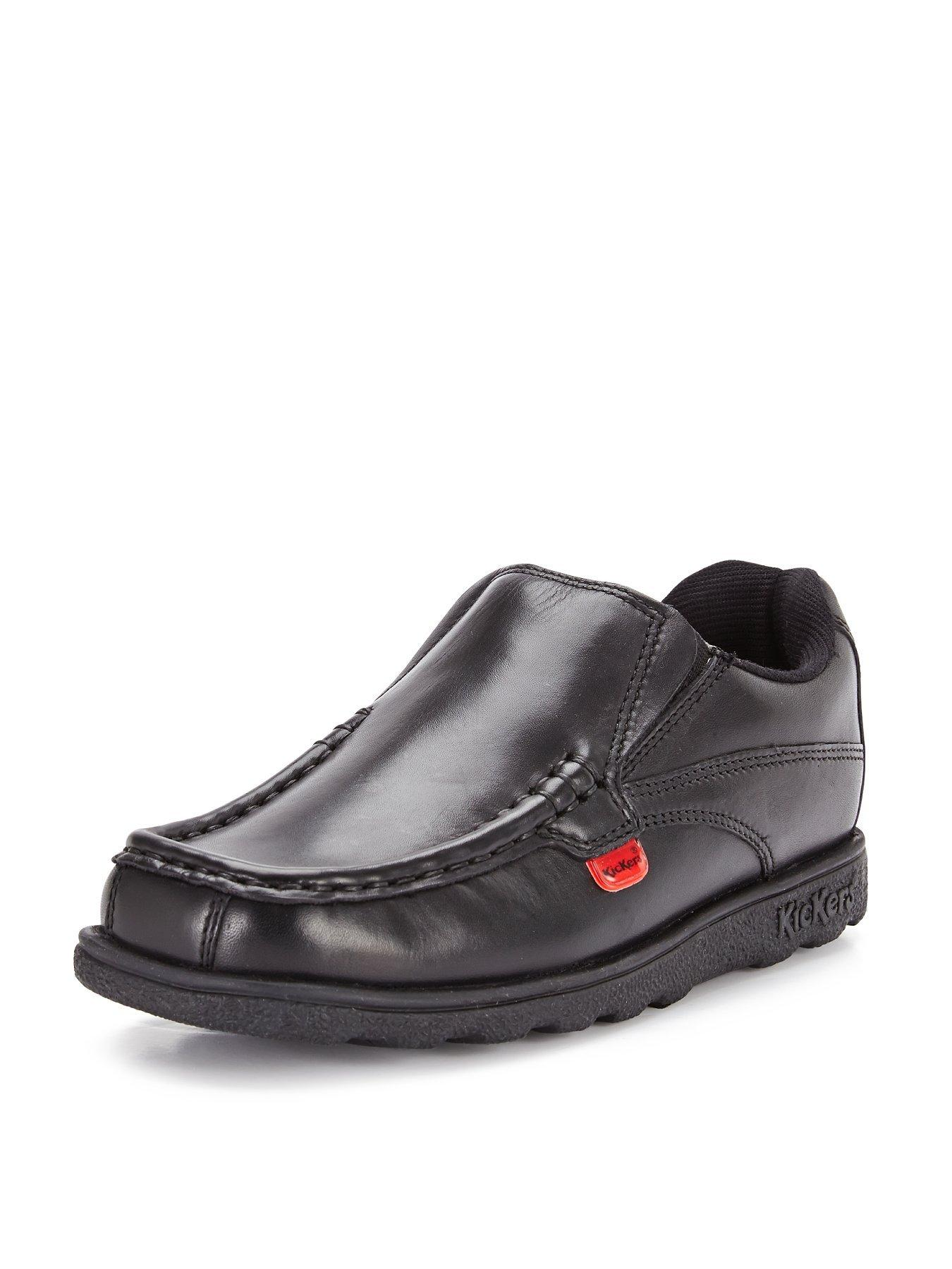 BOYS BUCKLE MY SHOE RUSH LACE UP BLACK LEATHER SCHOOL SHOES SIZE 13-6