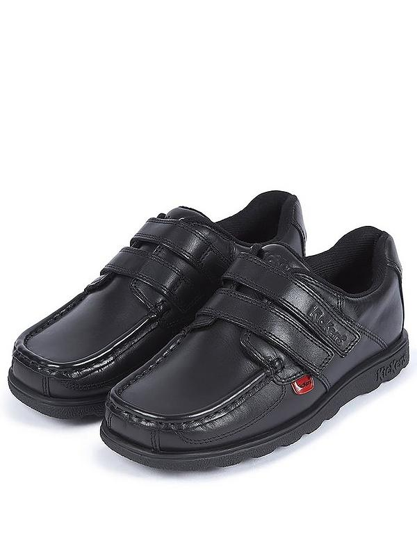 Boys Fragma Double Strap School Shoes Black