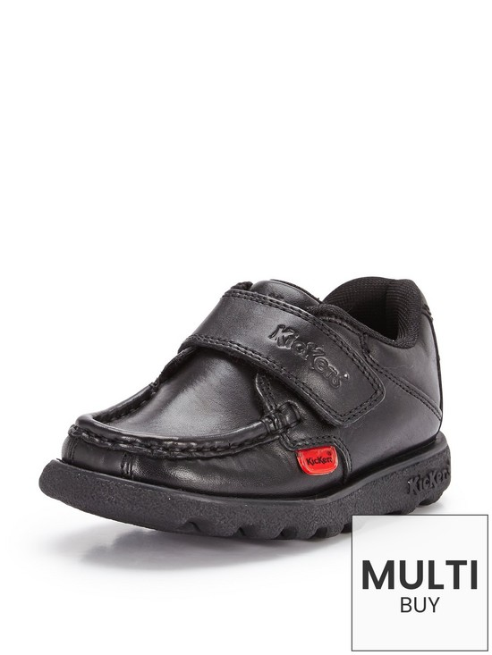 20d3a4107936 Kickers Younger Boys Fragma School Shoes - Black
