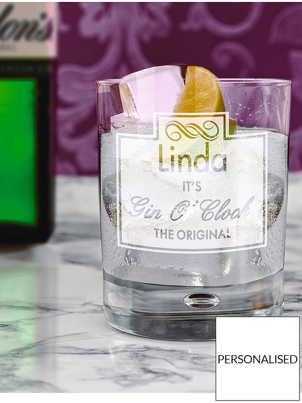 Personalised Gin O Clock Hi Ball Bubble Glass With Free Personalisation