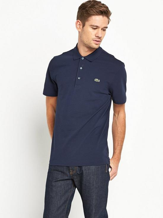 07612af990f2e5 Lacoste Plain Mens Short Sleeve Polo Shirt – Navy